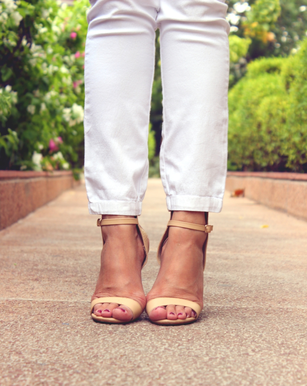 Sandal Heels in Cake Batter color - Forever 21