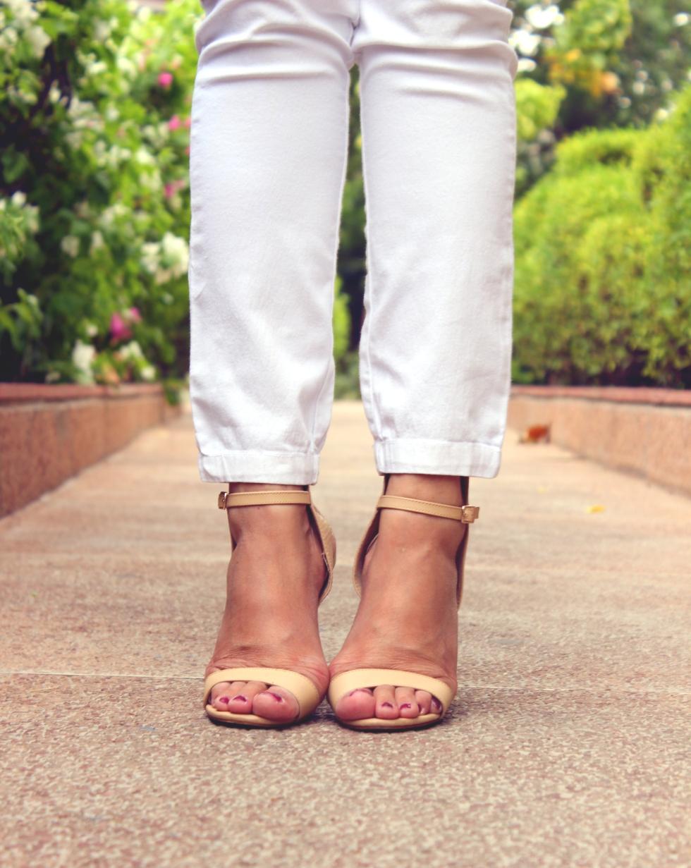 Sandal Heels in Cake Batter color - Forever 21