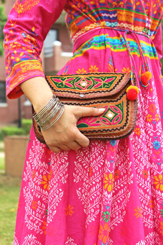 Camel Leather Sling Pouch - From the streets of  Jaipur, Rajasthan. Metal studded Bangles - From the streets of Bangalore, Karnataka.