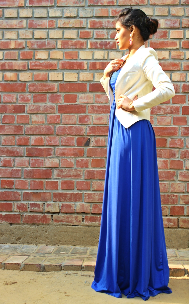 Ruched Tube Maxi by Cupcakes And Closet. White Shimmer Blazer by Code